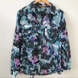 Ellen Tracy Sheer Floral Long Sleeve Button Blouse